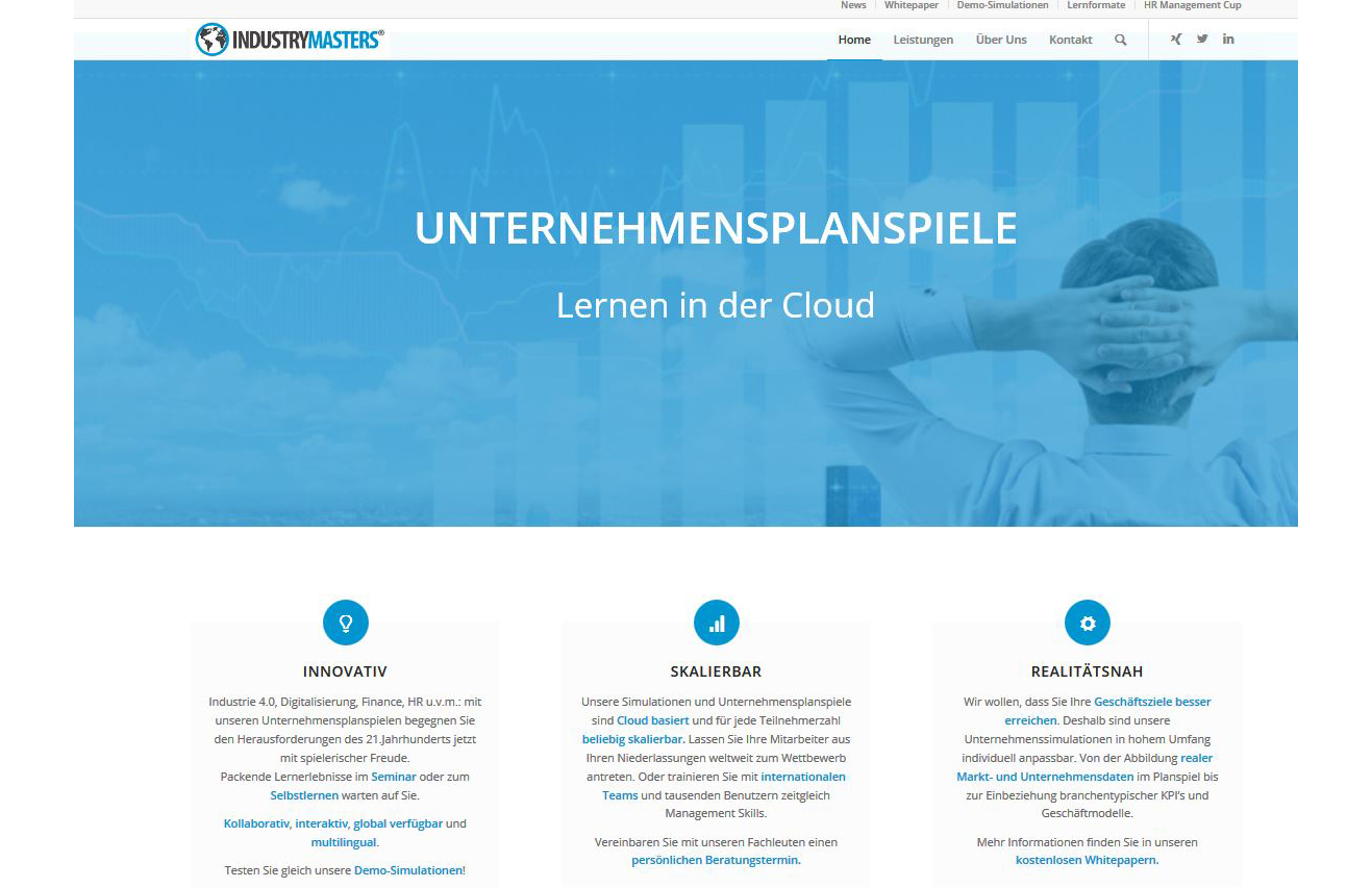 Projekt: Industrymasters Unternehmensimulationen (seit 2017)