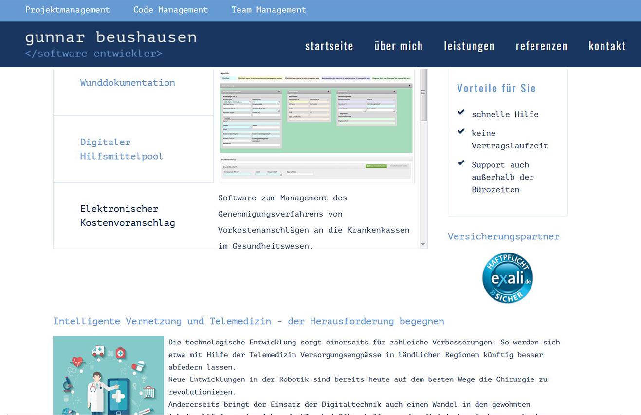 GunnarBeushausen: Web Konzeption für einen freien Software Entwickler mit großer Erfahrung