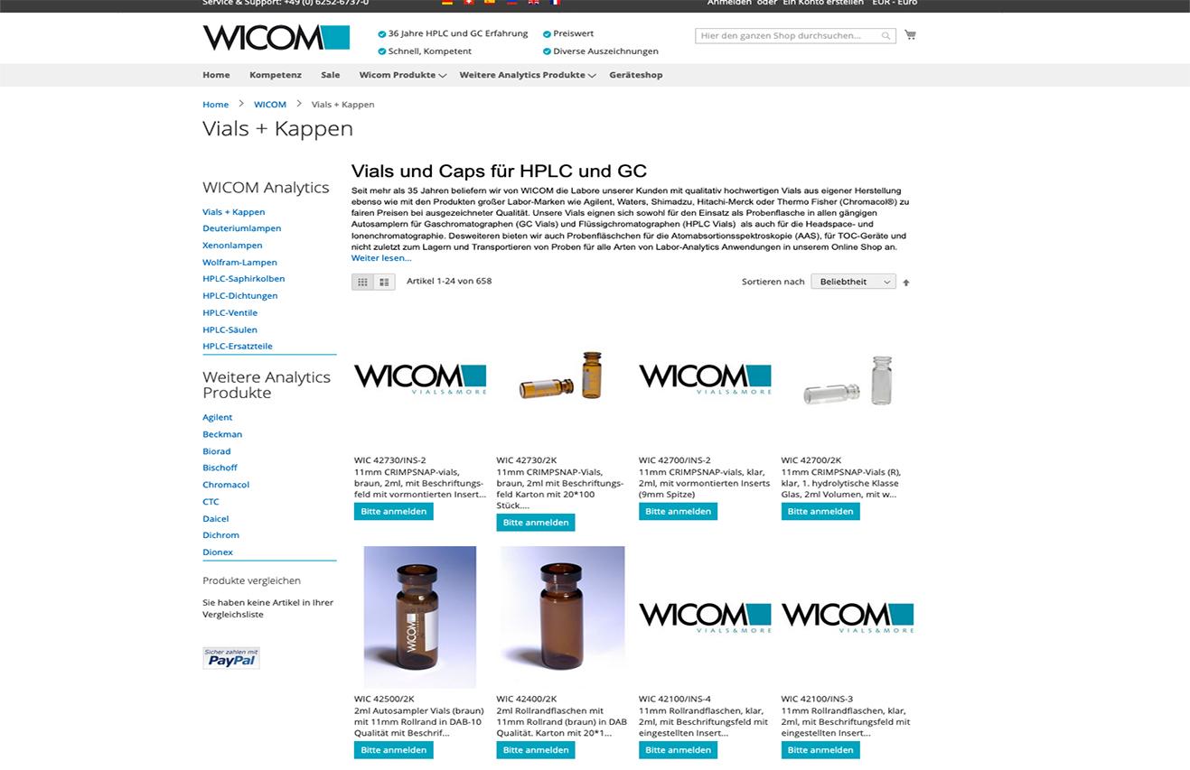 Projekt: WICOM - Onlineshop für HPLC-Zubehör (2017-2018)