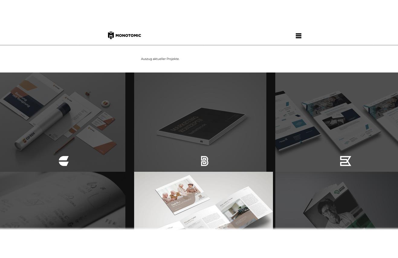 Kooperationspartner: Monotomic GmbH / Branche: klassische Werbeganturen / Leistungen von Deliah Rill für Kunden: Texte Print, Online, PR